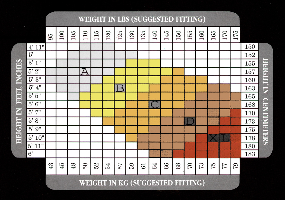 Danshuz shiny tights sizing table