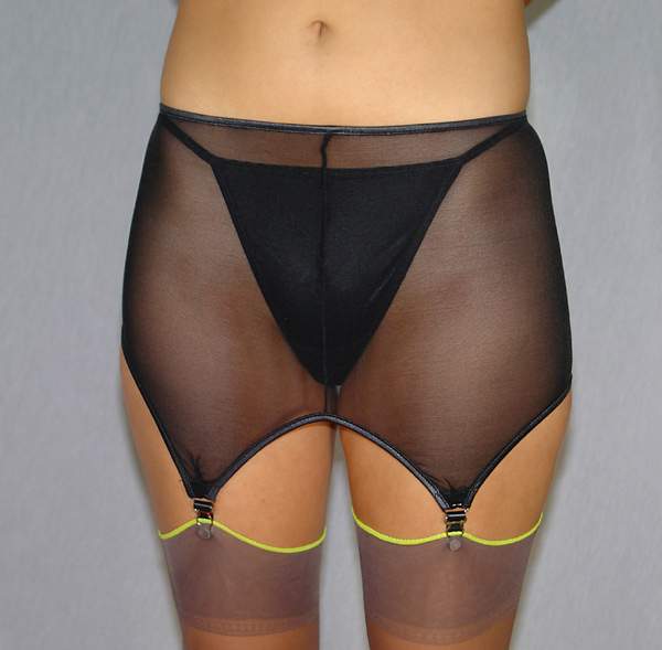 4 strap slide on open bottom garter belt with metal clips