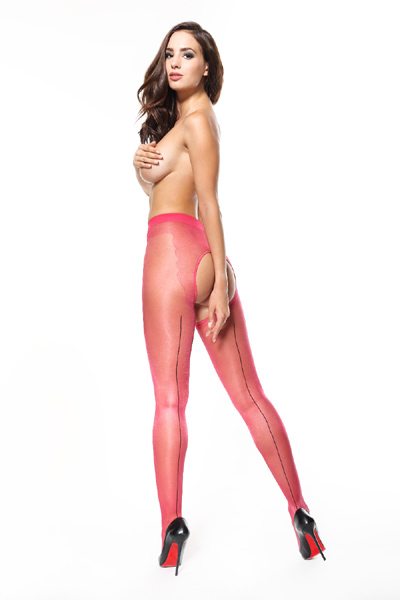 MissO seamed crotchless pantyhose in red color